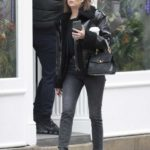 Ashley Benson in a Black Leather Jacket Goes Shopping in New York City