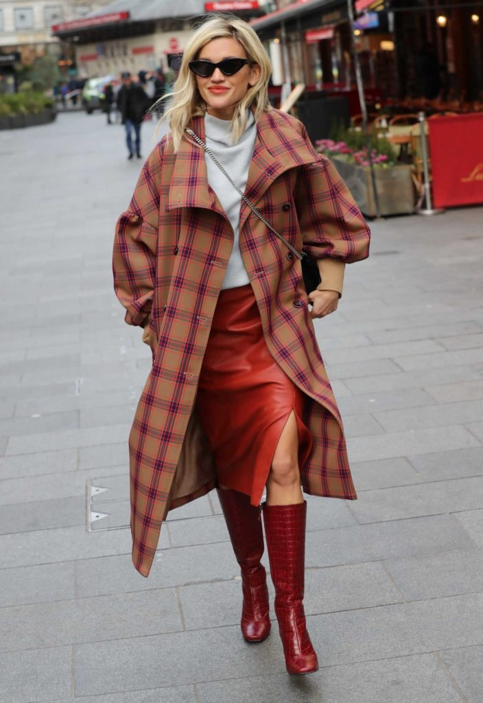Ashley Roberts in a Plaid Trench Coat