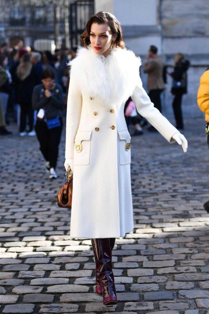 Bella Hadid in a White Coat
