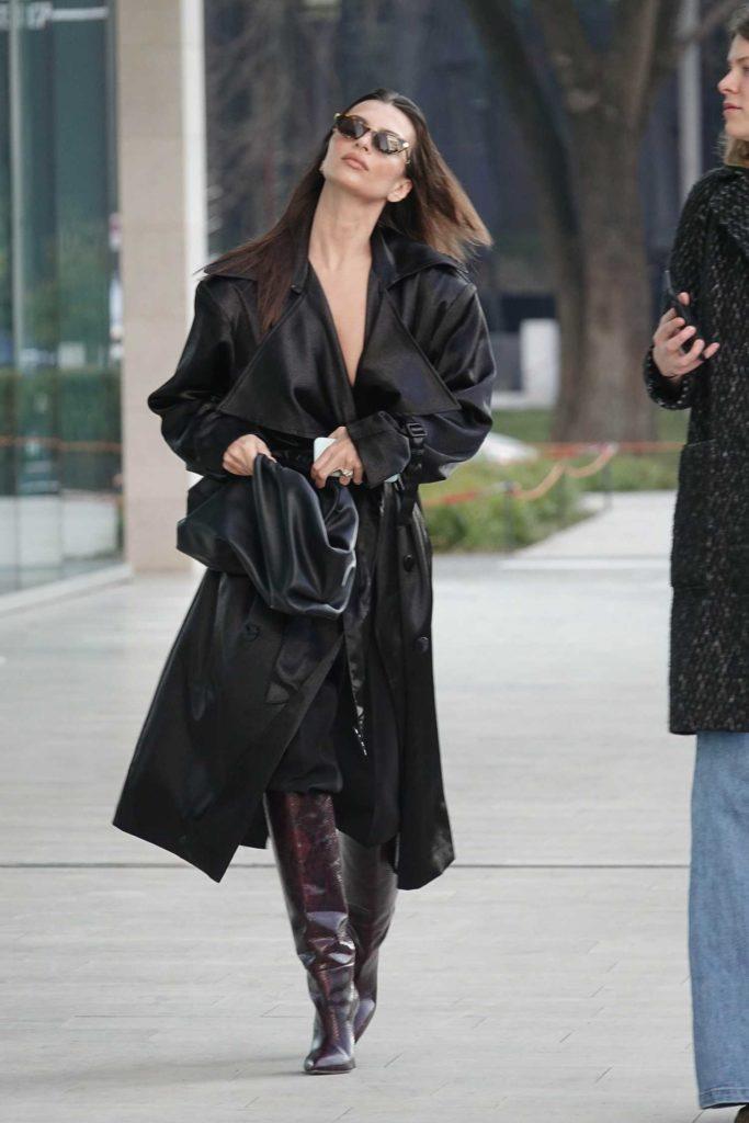 Emily Ratajkowski in a Black Trench Coat
