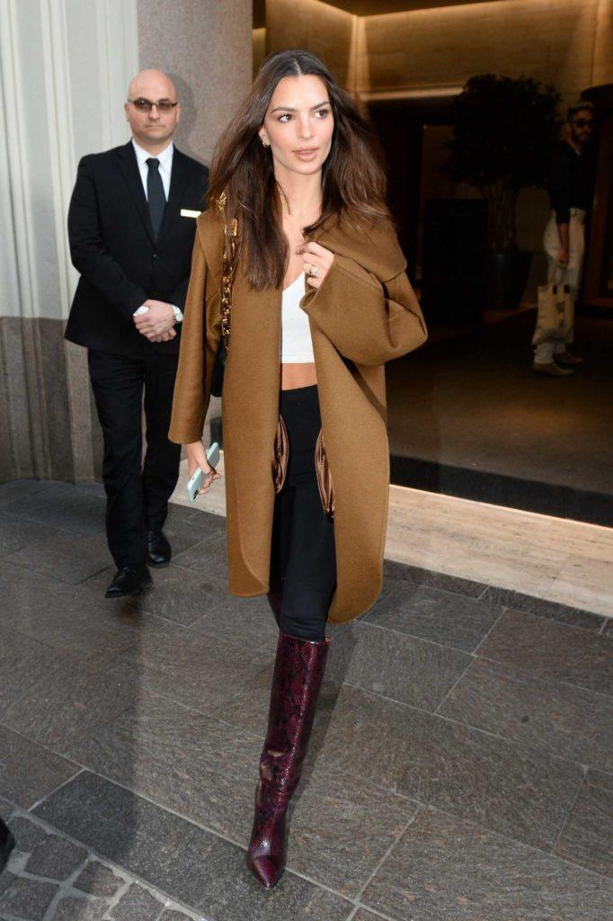 Emily Ratajkowski in a Brown Coat