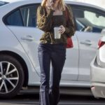 Emma Roberts in a Leopard Print Blouse Stops at Blue Bottle Coffee in Los Feliz