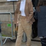 Gigi Hadid in a Beige Jeans Leaves 2020 Chloe Fashion Show in Paris