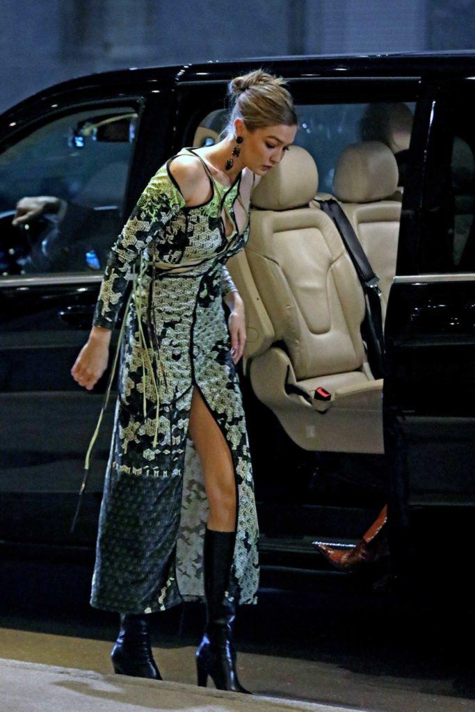 Gigi Hadid in a Green Dress