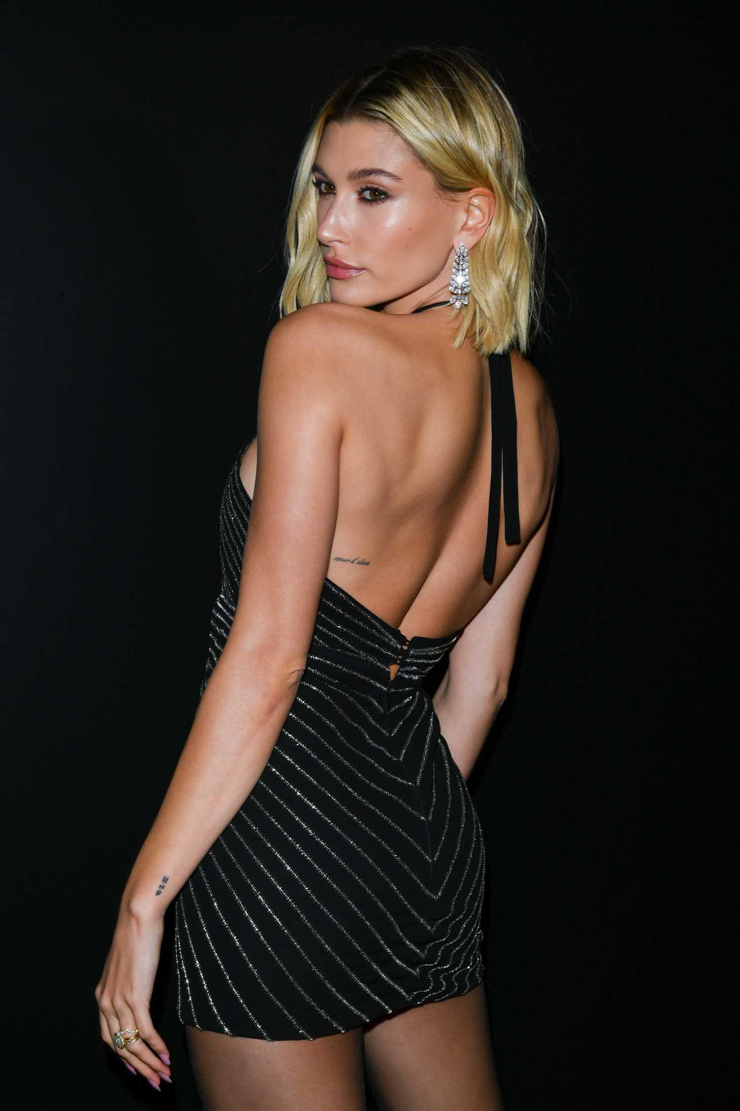 Hailey Bieber Attends 2020 Saint Laurent Fashion Show in