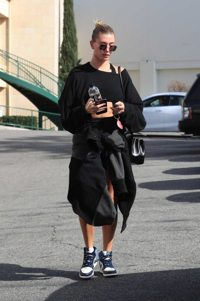 Hailey Bieber in a Black Cropped Sweater