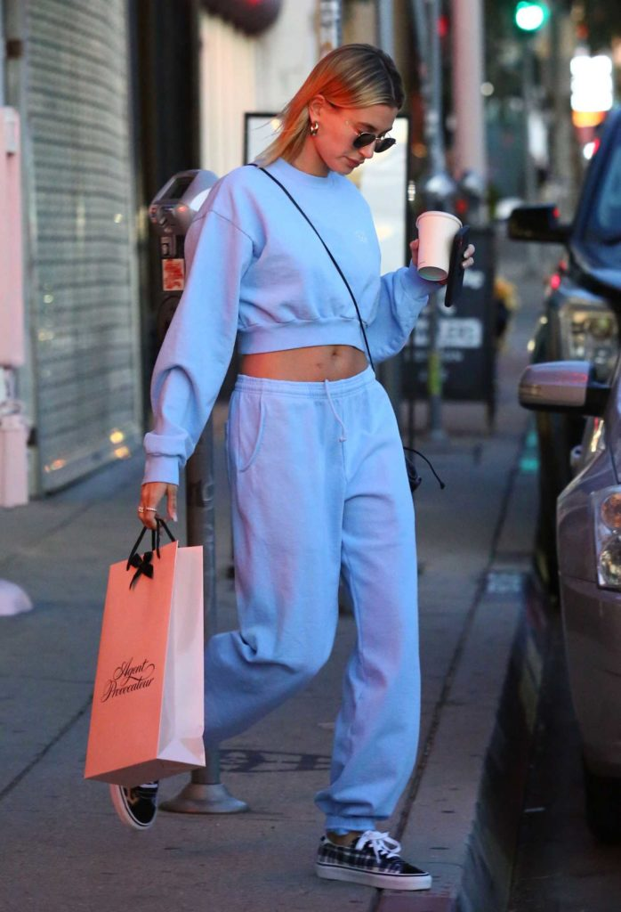 Hailey Bieber in a Blue Sweatsuit