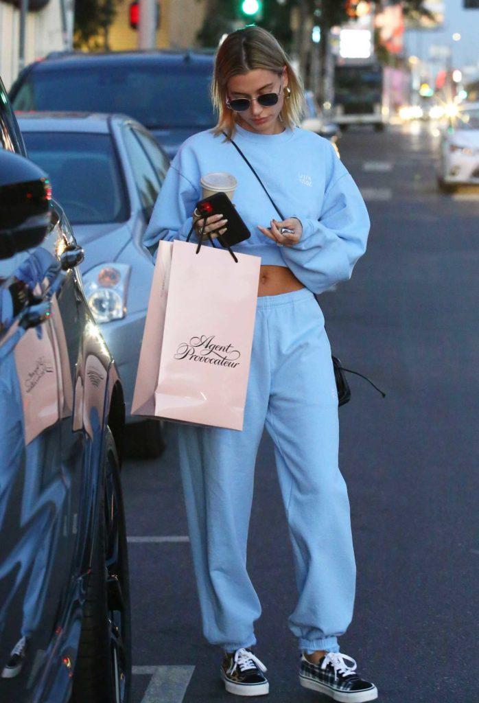 Hailey Bieber in a Blue Sweatsuit