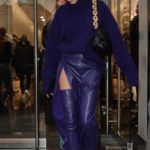 Hailey Bieber in a Purple Outfit Leaves the Balenciaga Store in Paris