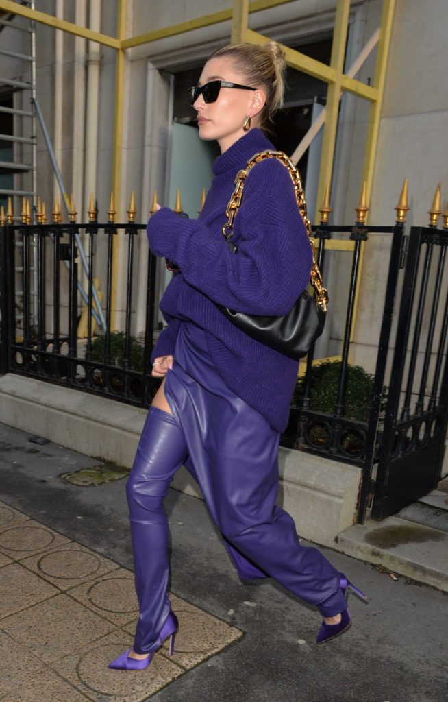 Hailey Bieber in a Purple Outfit