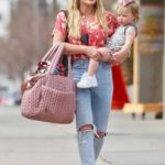 Hilary Duff in a Blue Ripped Jeans Was Seen Out with Her Baby in Studio City