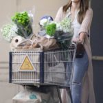 Jessica Alba in a Beige Cardigan Goes Shopping in Beverly Hills