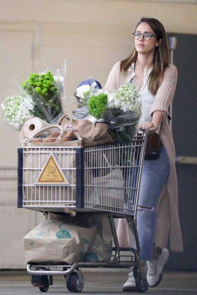 Jessica Alba in a Beige Cardigan