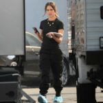 Jessica Alba in a Black Tee on the Set of L.A 's Finest in Los Angeles