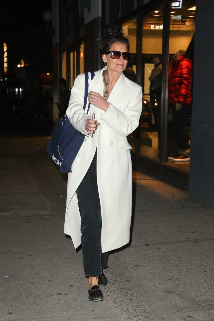 Katie Holmes in a White Coat