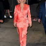 Katy Perry in a Red Suit Arrives at the Jimmy Kimmel Live in Los Angeles