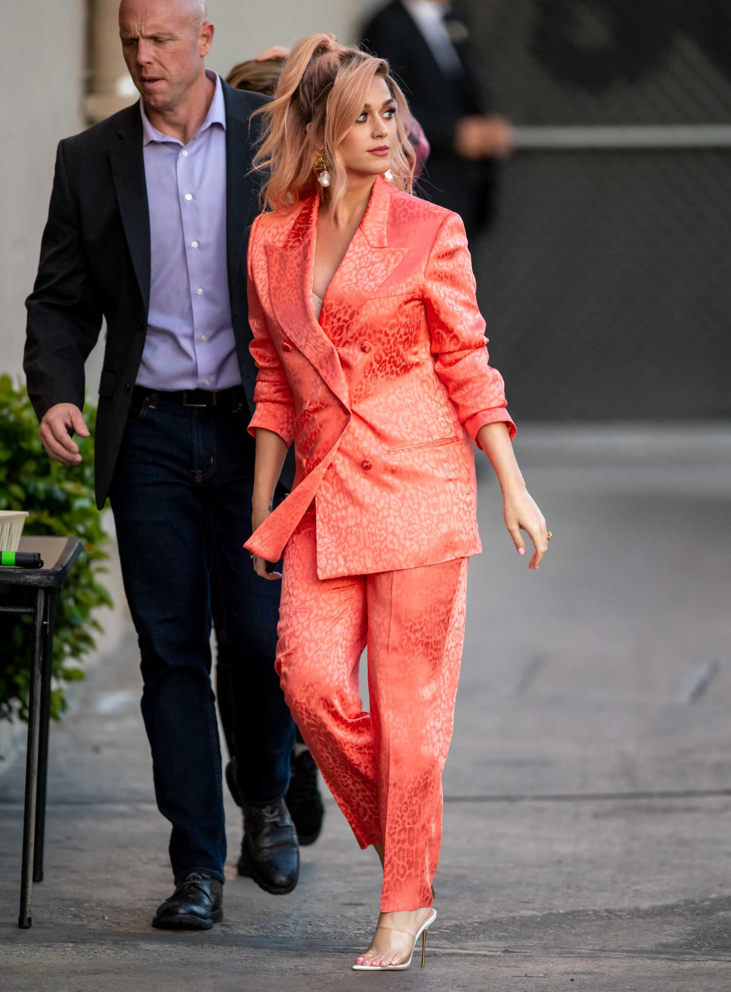 Katy Perry In A Red Suit Arrives At The Jimmy Kimmel Live