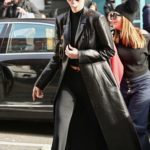 Kendall Jenner in a Black Leather Coat Leaves Sadelle's Restaurant in SoHo, New York