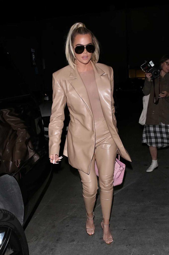 Khloe Kardashian in a Beige Suit
