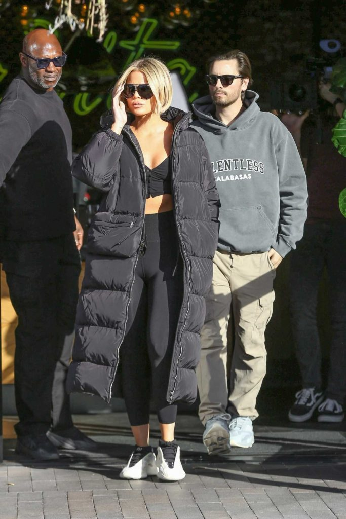 Khloe Kardashian in a Black Puffer Coat