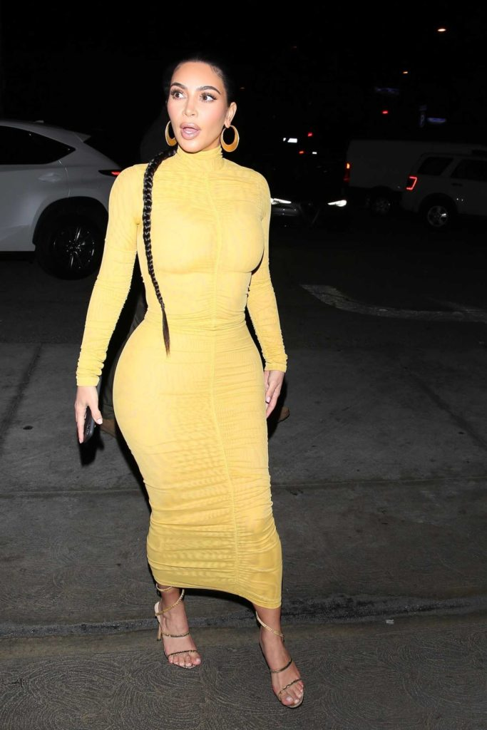 Kim Kardashian in a Yellow Dress