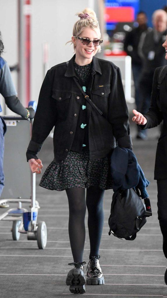Lucy Boynton in a Black Denim Jacket