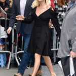 Margot Robbie in a Black Dress Arrives at ABC Studios in New York