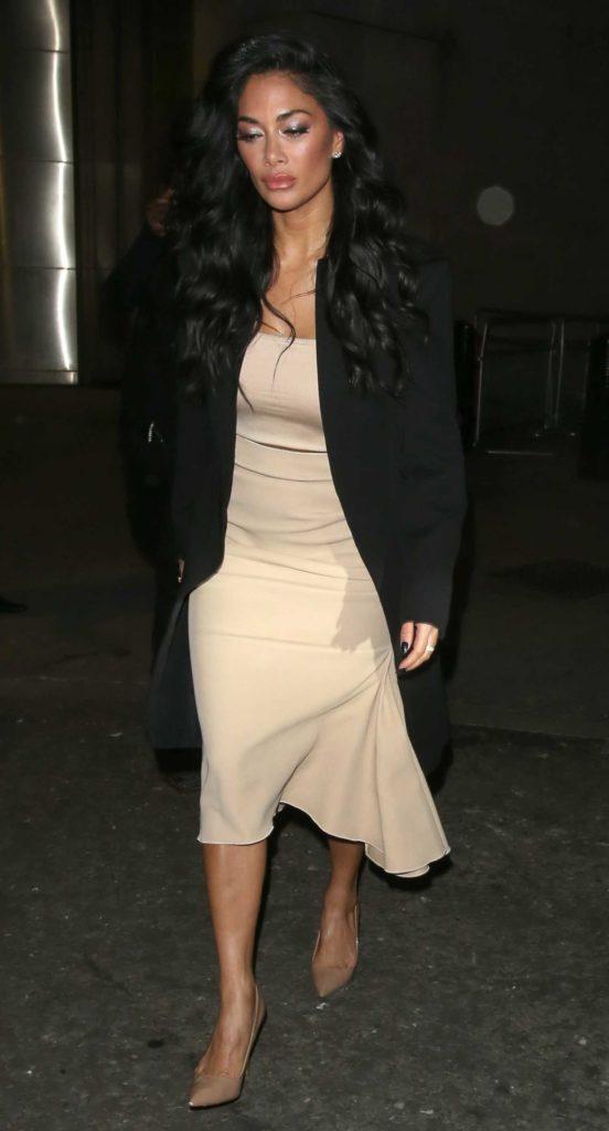Nicole Scherzinger in a Beige Dress