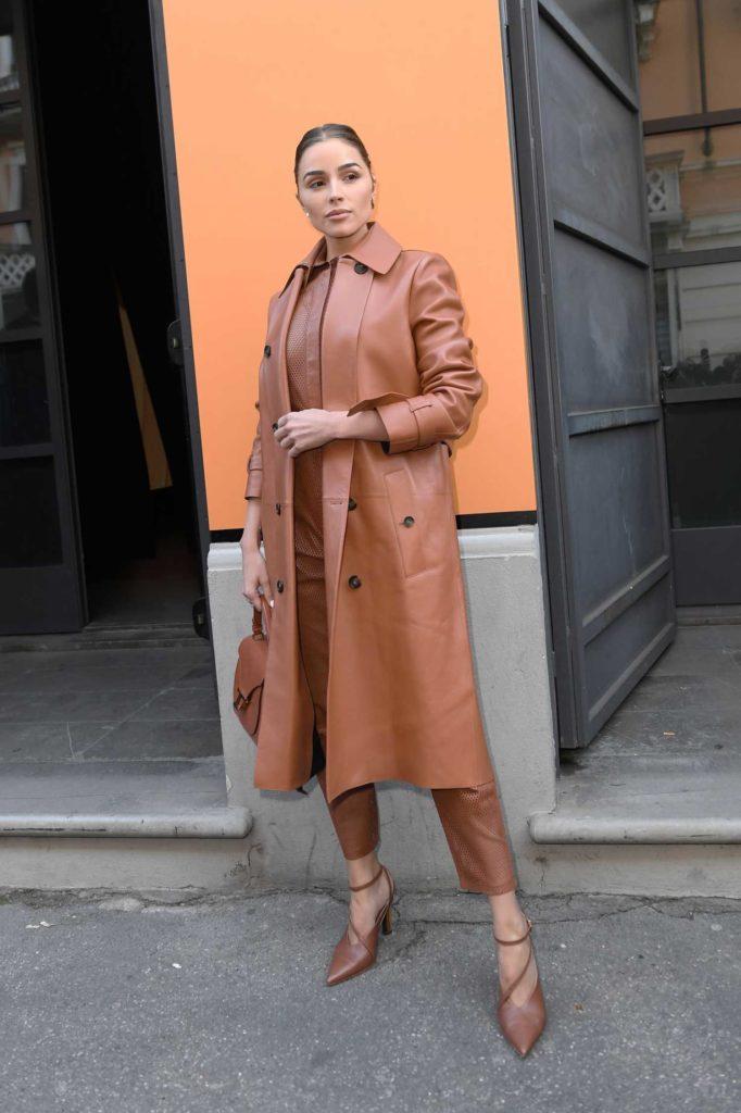 Olivia Culpo in a Beige Coat