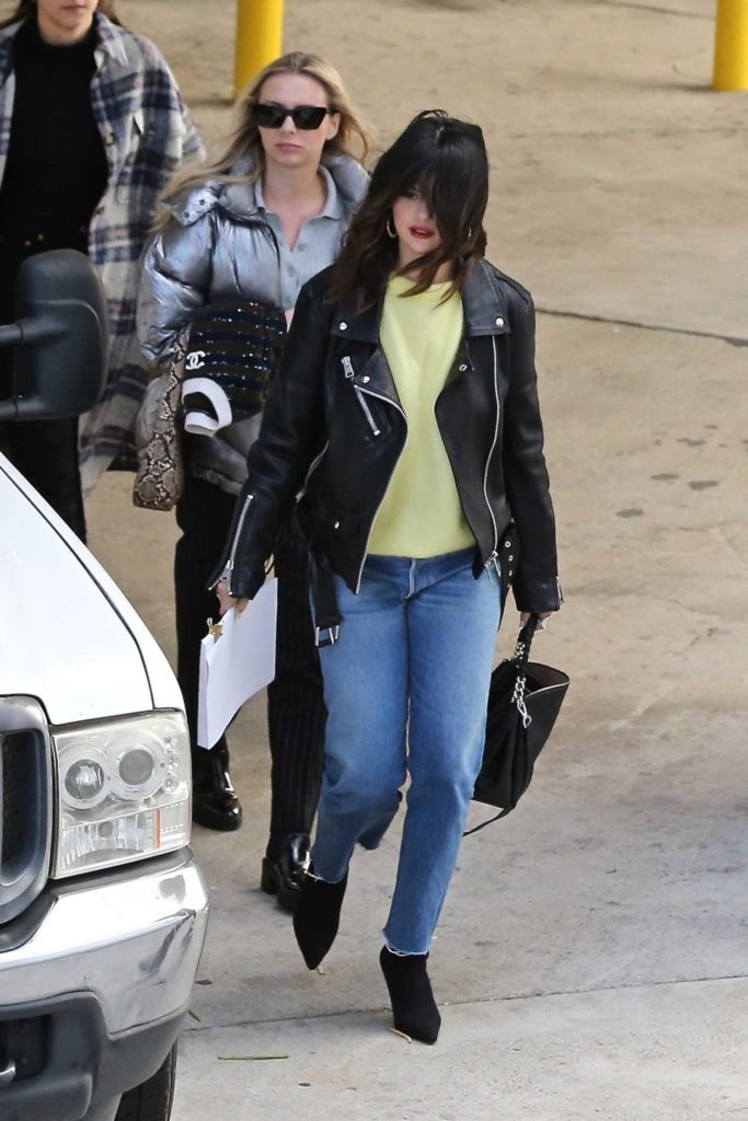 Selena Gomez in a Black Leather Jacket