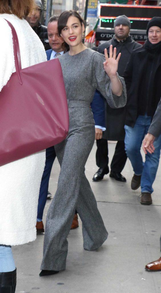 Sophie Skelton in a Gray Jumpsuit