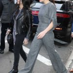 Sophie Skelton in a Gray Jumpsuit Leaves Good Morning America in New York City