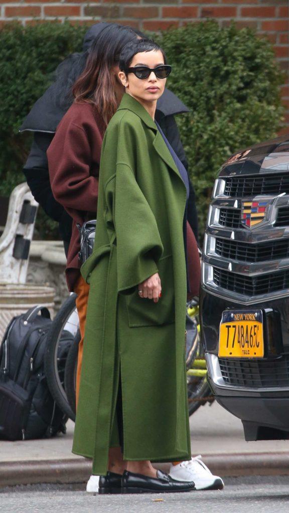 Zoe Kravitz in a Long Green Coat