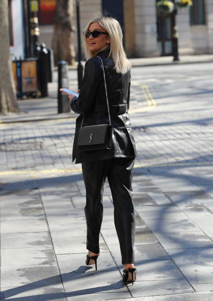 Ashley Roberts in a Black Leather Suit