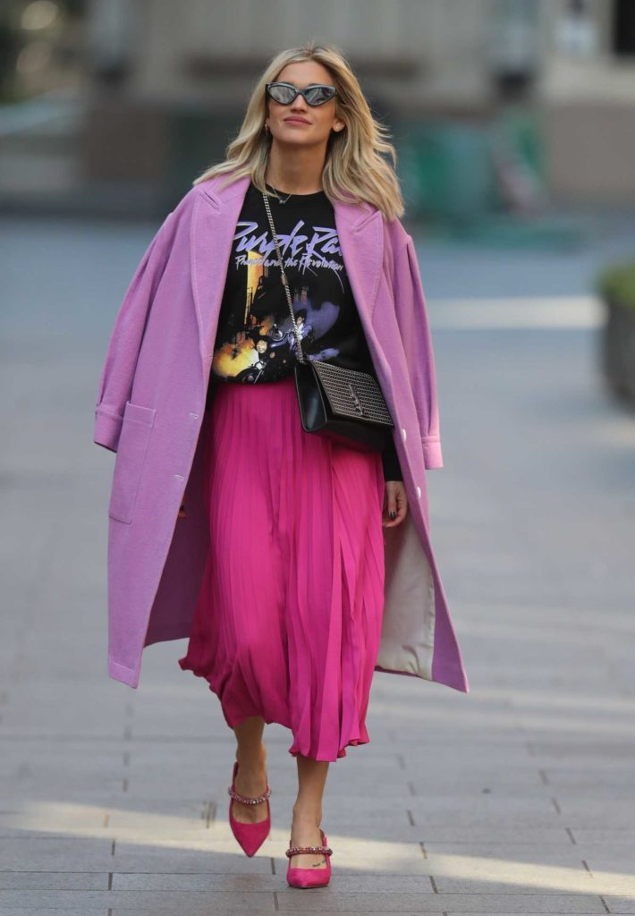 Ashley Roberts in a Purple Coat