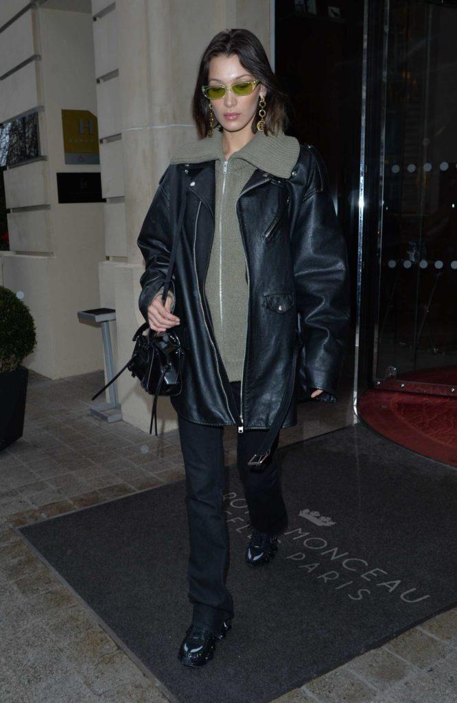 Bella Hadid in a Black Leather Jacket