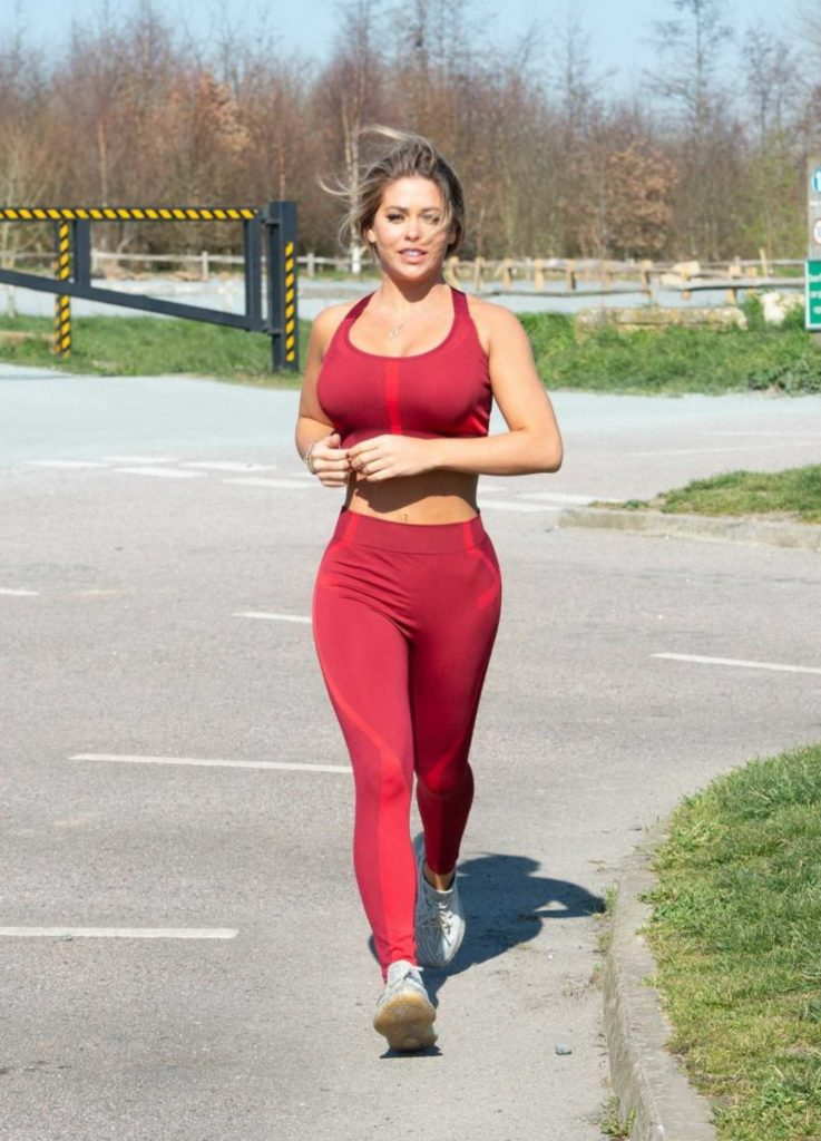 Bianca Gascoigne in a Red Workout Clothes