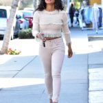 Christina Milian in a Beige Blouse Was Seen Out in LA
