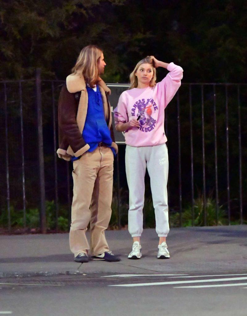 Elsa Hosk in a Pink Sweatshirt