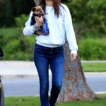 Emmy Rossum in a Black Sneakers Walks Her Dog Out in Beverly Hills