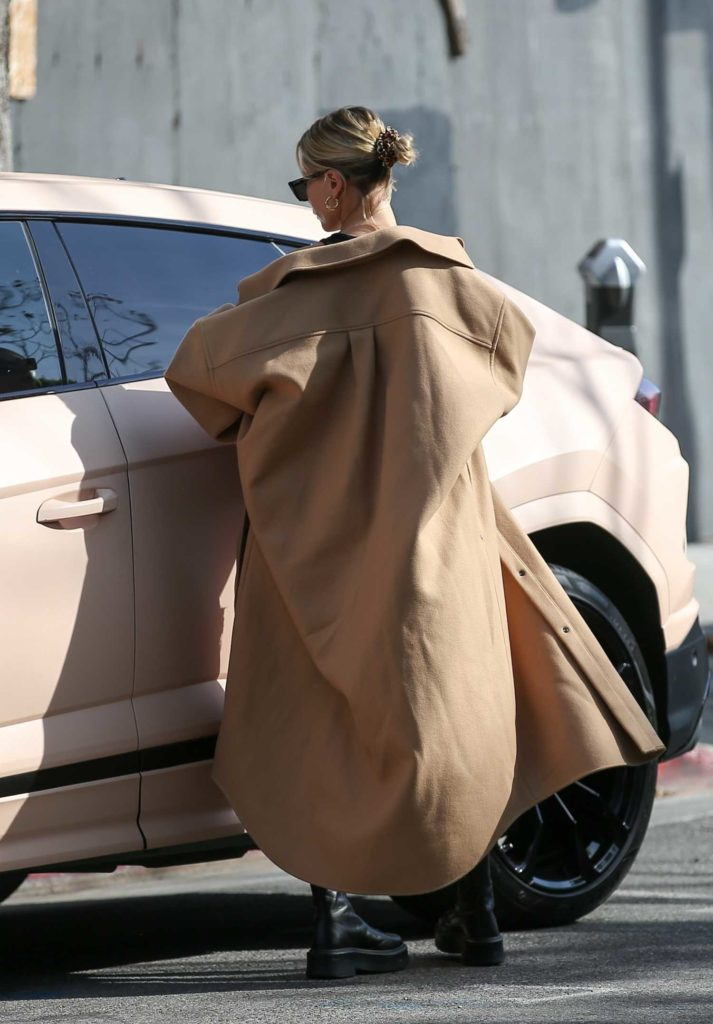 Hailey Bieber in a Beige Coat