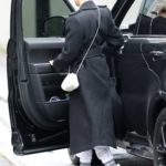 Hailey Bieber in a Black Coat Was Seen Out for Lunch in Beverly Hills