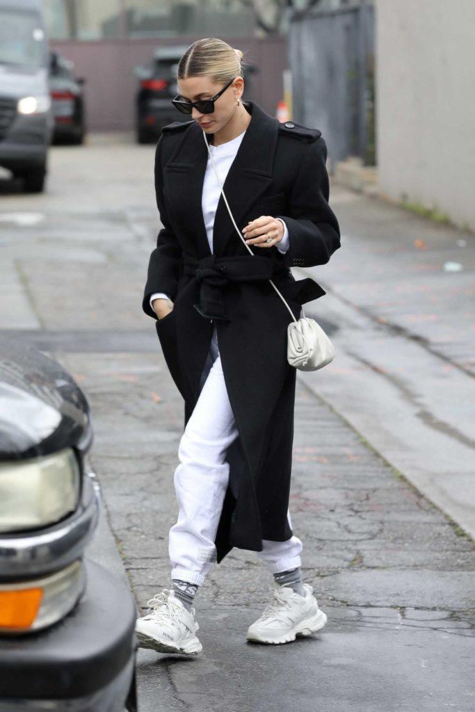 Hailey Bieber in a Black Coat