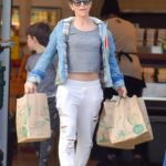 Jillian Michaels in a White Ripped Sweatpants Goes Shopping at Whole Foods in Malibu