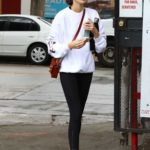 Kaia Gerber in a White Sweatshirt Leaves the Gym in Los Angeles
