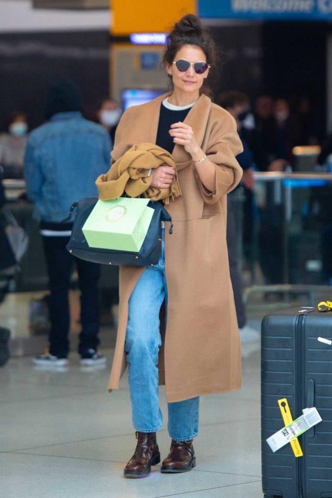 Katie Holmes in a Tan Coat