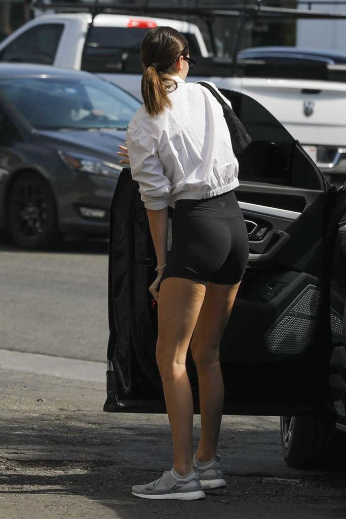 Kendall Jenner in a Black Spandex Shorts