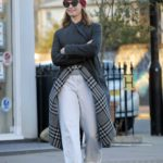 Lily James in a Red Knit Hat Was Seen Out in London