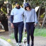 Lucy Hale in a Black Leggings Walks Her Dog Out in Studio City