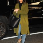 Mandy Moore in a Green Coat Arrives at Her Hotel in New York